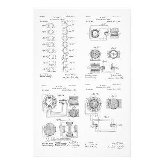 Tesla Elecro-Magnet Motor Patent US381968 p 1-4 Stationery
