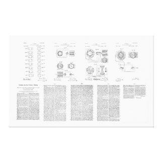 Tesla Elecro-Magnet Motor Patent US381968 p 1-9 Canvas Prints