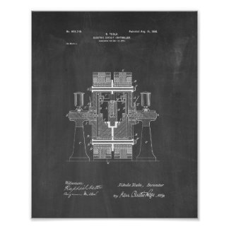 Tesla Electric Circuit Controller Patent - Chalkbo Posters