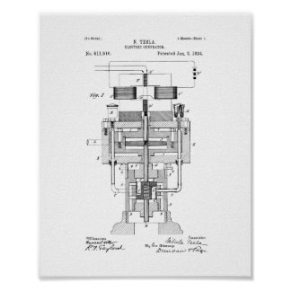 Tesla Electric Generator Patent Print