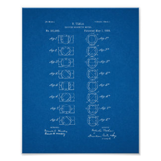 Tesla Electro-magnetic Motor Patent - Blueprint Poster