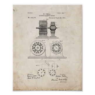 Tesla Electro Magnetic Motor Patent - Old Look Posters