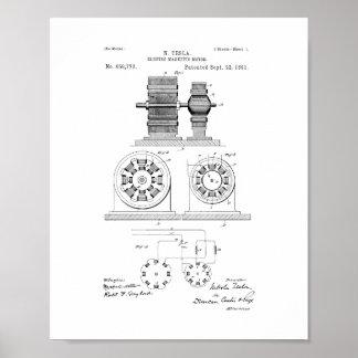Tesla Electro Magnetic Motor Patent Poster