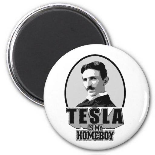 Tesla es mi Homeboy Imán Redondo 5 Cm