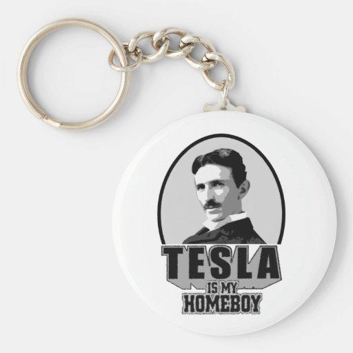 Tesla Is My Homeboy Basic Round Button Keychain