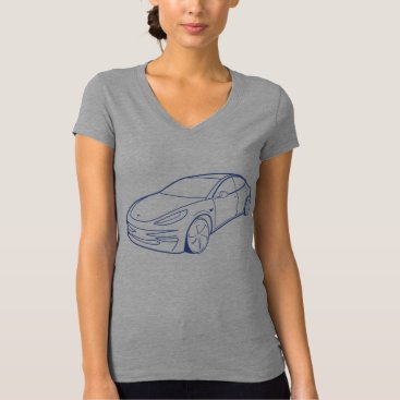 Beach Themed Tesla Model 3, Blue, Grey v-neck, men T-Shirt