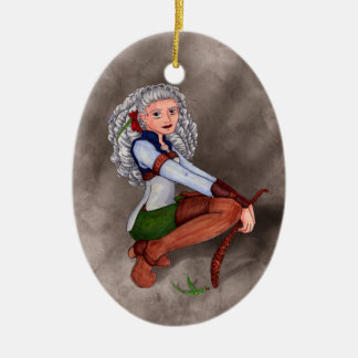 Tesla Double-Sided Oval Ceramic Christmas Ornament