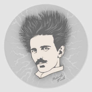 Tesla Static II Classic Round Sticker