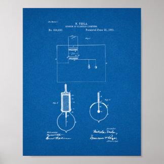 Tesla System Of Electric Lighting Patent - Bluepri Poster