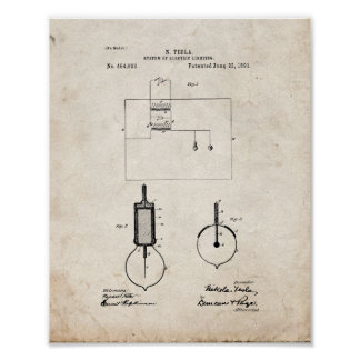 Tesla System Of Electric Lighting Patent - Old Loo Poster