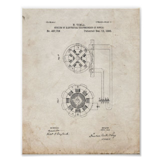 Tesla System Of Electrical Transmission Patent - O Poster
