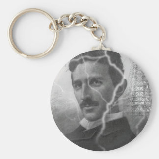Tesla, The Lightning Man Basic Round Button Keychain