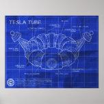 Tesla Tube Blueprints Poster