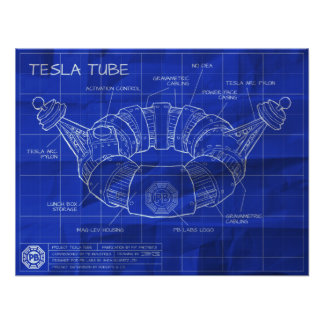 Tesla Tube Blueprints Poster