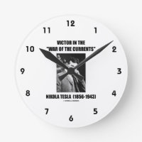 Tesla Victor In The War Of The Currents Physics Round Wall Clocks