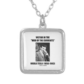 Tesla Victor In The War Of The Currents Physics Square Pendant Necklace