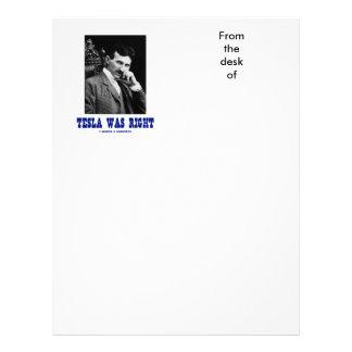Tesla Was Right (Nikola Tesla) Letterhead