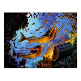 Tesoro de las sirenas del oro tarjetas postales