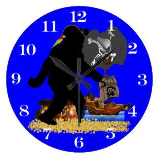 Tesoro enterrado Fer ido de Squatchin Reloj Redondo Grande