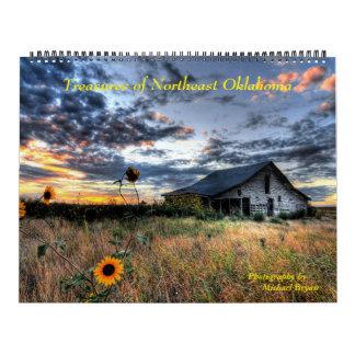 Tesoros de Oklahoma de nordeste - 12 meses Calenda Calendario De Pared