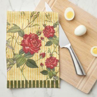 Tesoros del ático - rosas rojos en rayas amarillas toallas de mano
