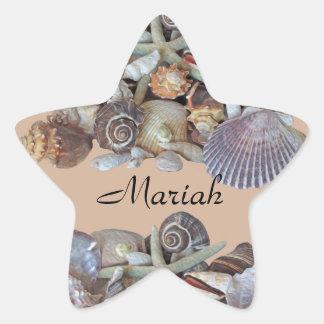 Tesoros del Seashell de las gemas del océano en Pegatina En Forma De Estrella