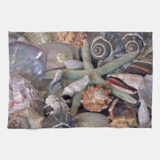 Tesoros del Seashell de las gemas del océano en Toallas De Cocina