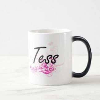 Tess Artistic Name Design with Flowers 11 Oz Magic Heat Color-Changing Coffee Mug