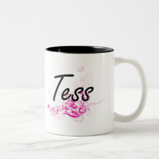Tess Artistic Name Design with Flowers Two-Tone Coffee Mug
