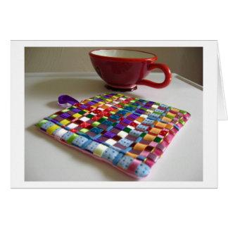Tessa Ribbons of Color Woven Trivet Greeting Card