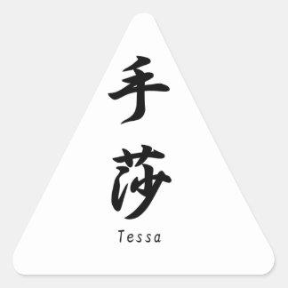 Tessa tradujo a símbolos japoneses del kanji pegatinas trianguladas