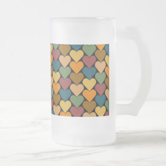 Tessellated Heart Pattern Design 16 Oz Frosted Glass Beer Mug