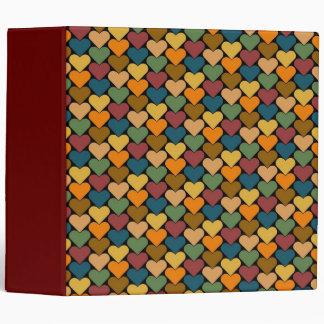 Tessellated Heart Pattern Design 3 Ring Binder