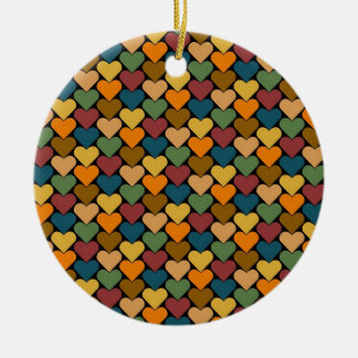 Tessellated Heart Pattern Design Double-Sided Ceramic Round Christmas Ornament