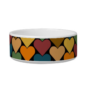 Tessellated Heart Pattern Design Pet Food Bowl