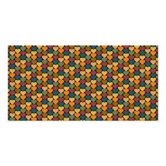Tessellated Heart Pattern Design Photo Cards