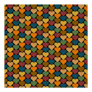 Tessellated Heart Pattern Design Poster
