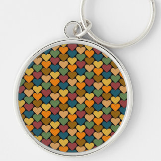 Tessellated Heart Pattern Design Silver-Colored Round Keychain