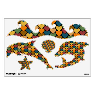 Tessellated Heart Pattern Design Room Decal