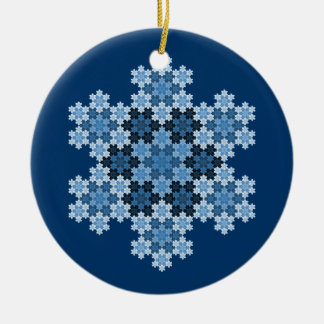 Tessellated Koch Snowflakes Ceramic Ornament
