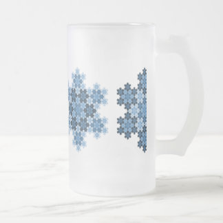 Tessellated Koch Snowflakes Frosted Glass Beer Mug