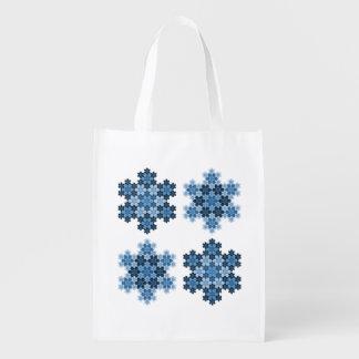 Tessellated Koch Snowflakes Grocery Bag