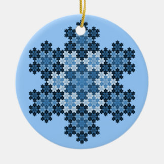 Tessellated Koch Snowflakes Double-Sided Ceramic Round Christmas Ornament