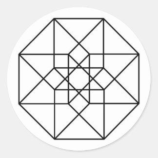 Tesseract (black outline) classic round sticker
