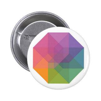 Tesseract (pastel rainbow) pinback button