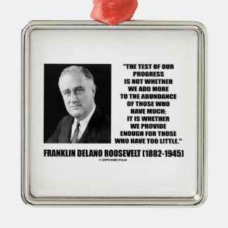 Test Of Our Progress Provide Enough F.D. Roosevelt Square Metal Christmas Ornament