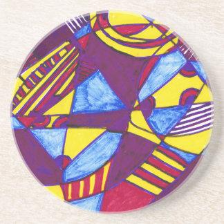 """Test Pattern"" Sandstone Drink Coaster"
