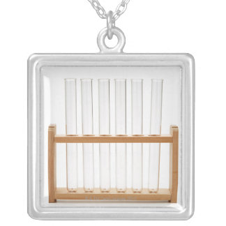 Test Tube 2 Silver Plated Necklace