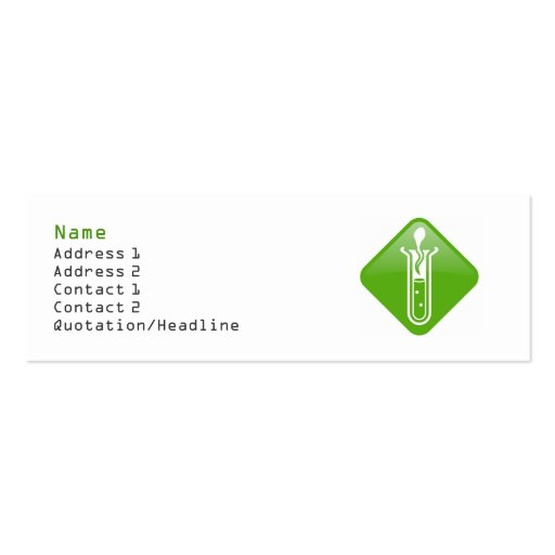 Test tube adult profile card template double sided mini for Mini business cards template