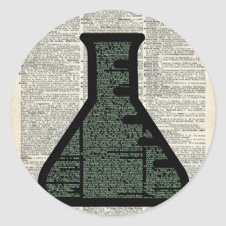 Test Tube Dictionary Art Classic Round Sticker